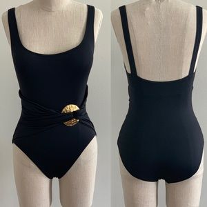 NWOT Marc Valvo Black Belted One Piece Swimsuit